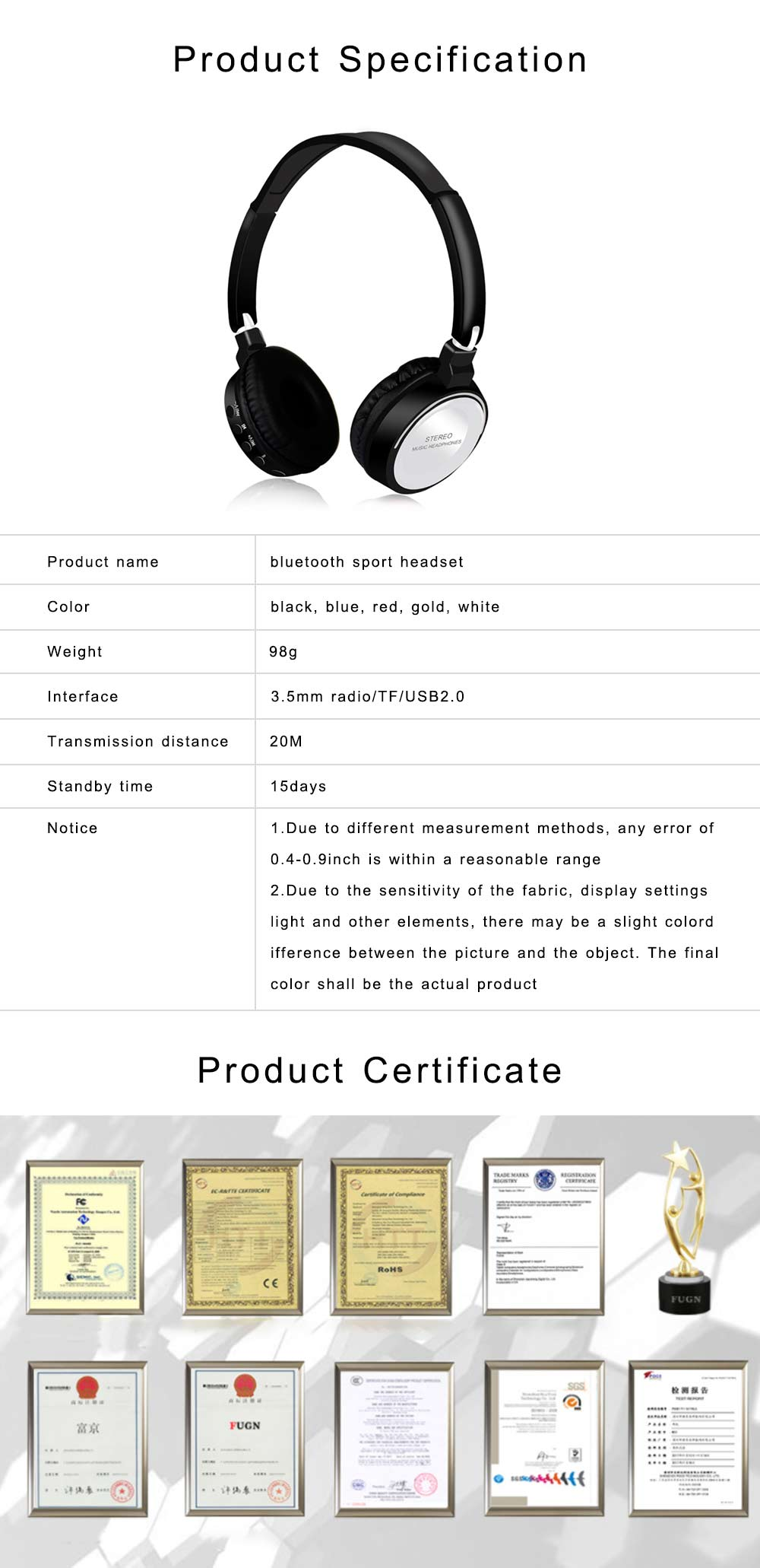 Bluetooth V4.2 Headset, Wireless Hi-Fi Stereo Noise Cancelling Over-ear Headphone with Built in Microphone 6
