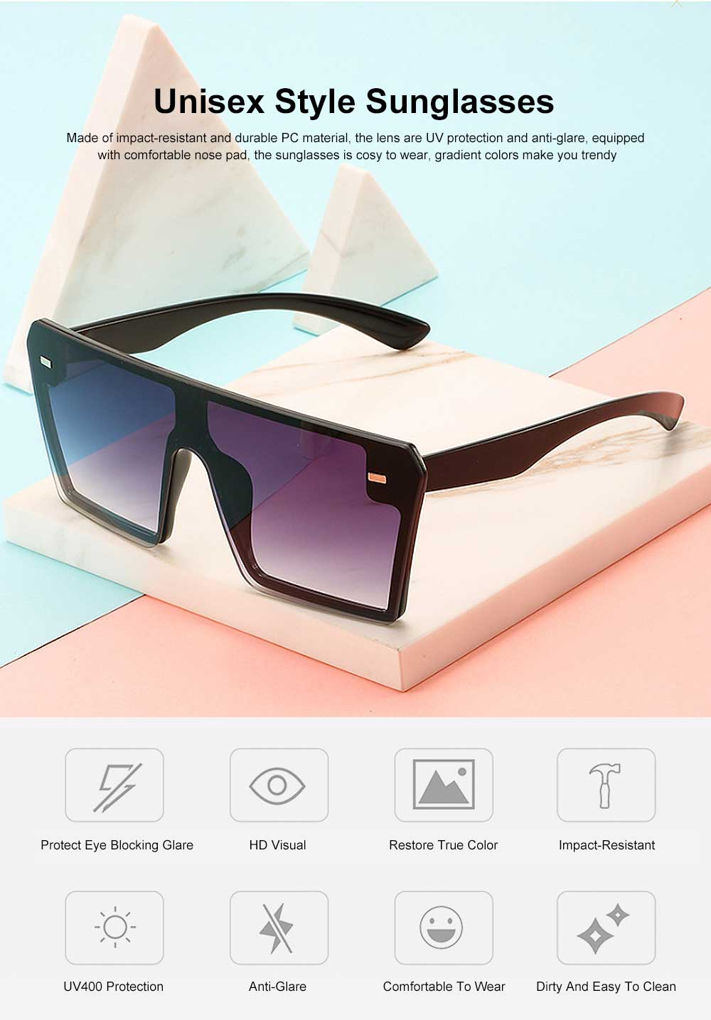 Frameless Unisex Sunglasses Gradient Colors Anti-Glare Lens with Comfortable Nose Pad UV Protection Sunglasses 0