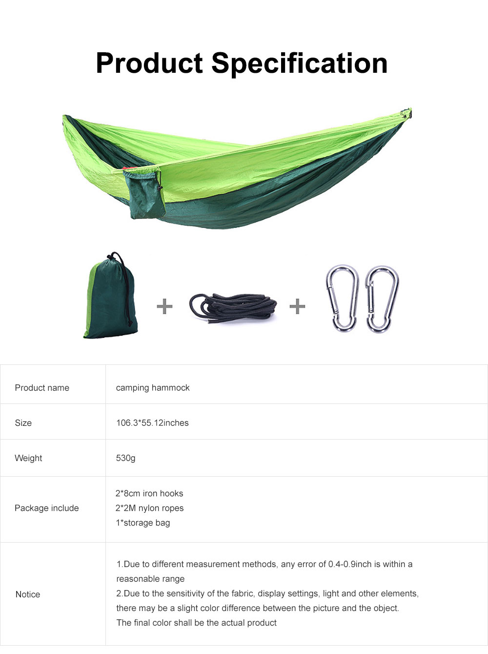 Camping Hammock Portable Indoor Outdoor Lightweight Nylon Parachute Hammocks for Travel, Beach with Nylon Straps and Carabiners 6