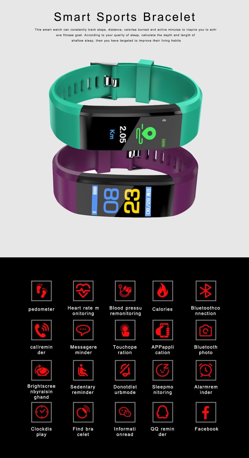 Bluetooth Smart Sports Bracelet, Waterproof Smart Activity Tracker Smartwatch Wristband for Men Women 0