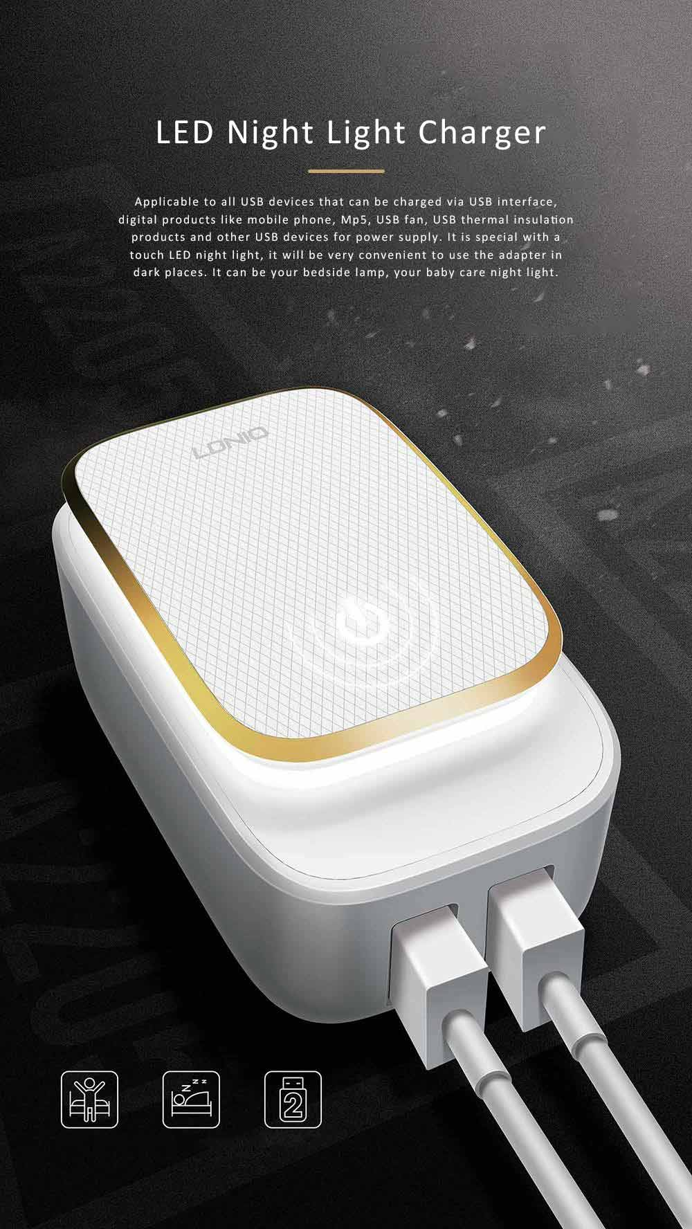 LED Nightlight Charger, USB Wall Charger with 2 Ports, USB Smart Home Travel Charger, Touch Control Power Adapter Charger with Soft Night Light for Home Office Travel 0