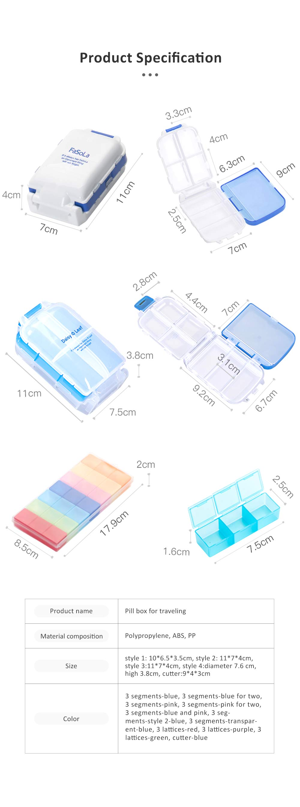 Layer Folding Portable Pill Box for Travelling Outdoor Vitamin Holder Container V-shape Pill Cutter 5