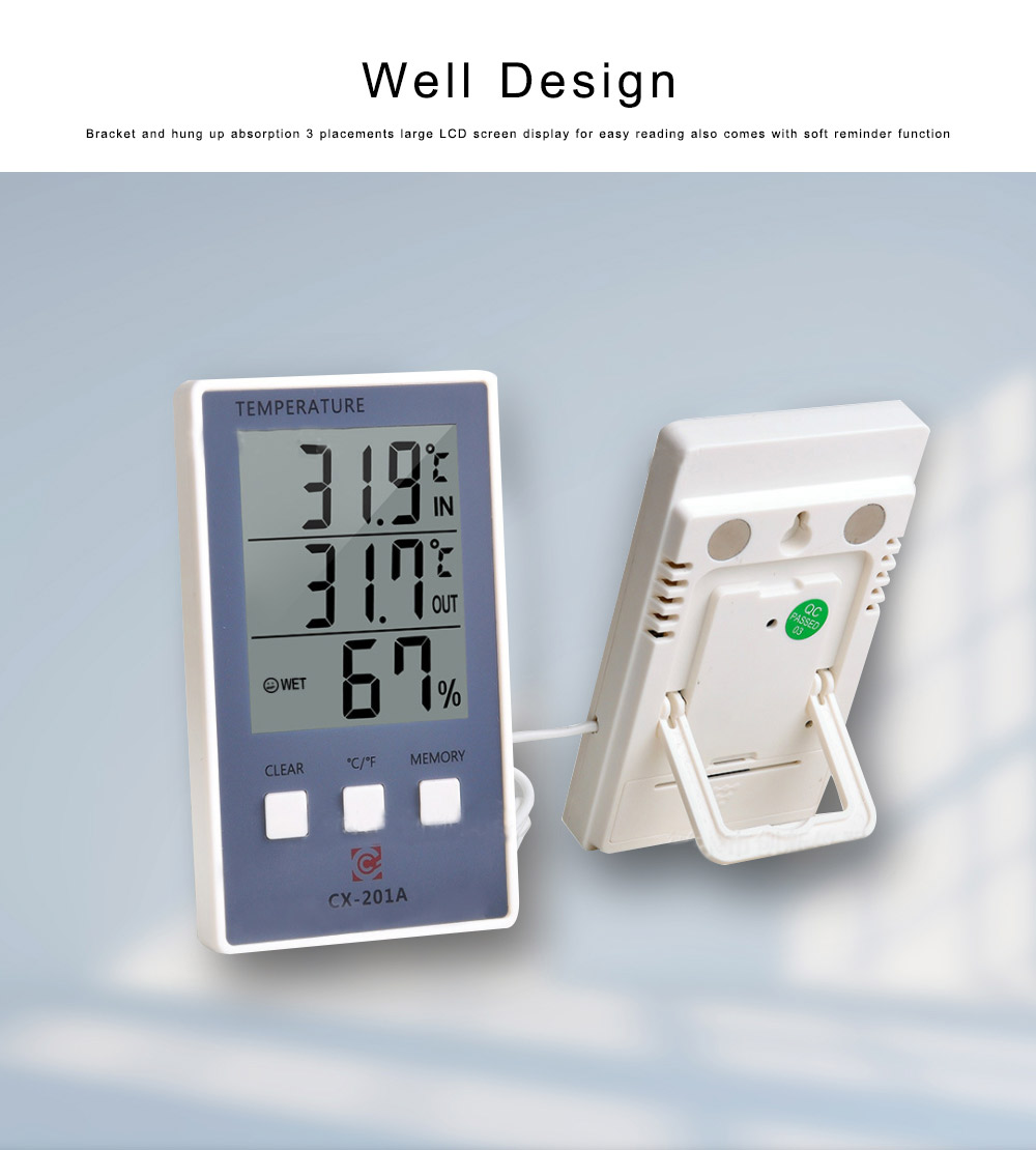 Electronic Thermometer, Indoor Outdoor Digital Fish Tank Thermometer Temperature Humidity Gauge with Big LCD Screen 4