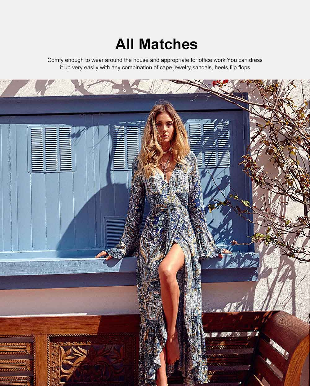 Women Long Sleeve Maxi Dress Casual Long Dresses Beach Dresses Bohemian Printed Side Split Dresses 2