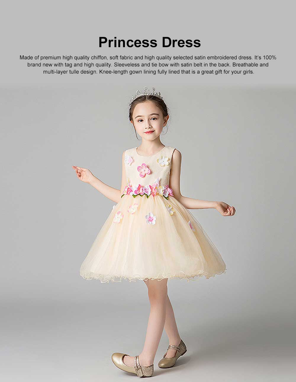 3D Flower Girls Princess Dress, Sleeveless Tulle Birthday Party Dress Best Gifts for Girl 0