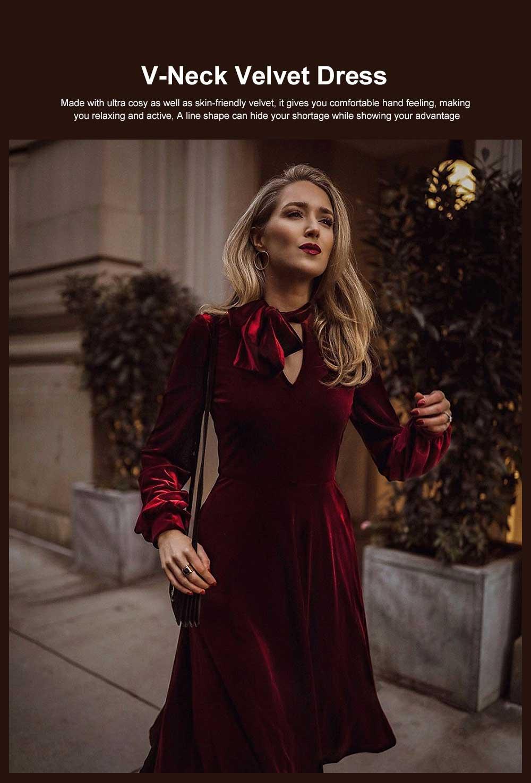 Women Choker V-Neck Velvet Dress Flare Long Sleeve Elegant A Line Dress with Bowknot Design 0