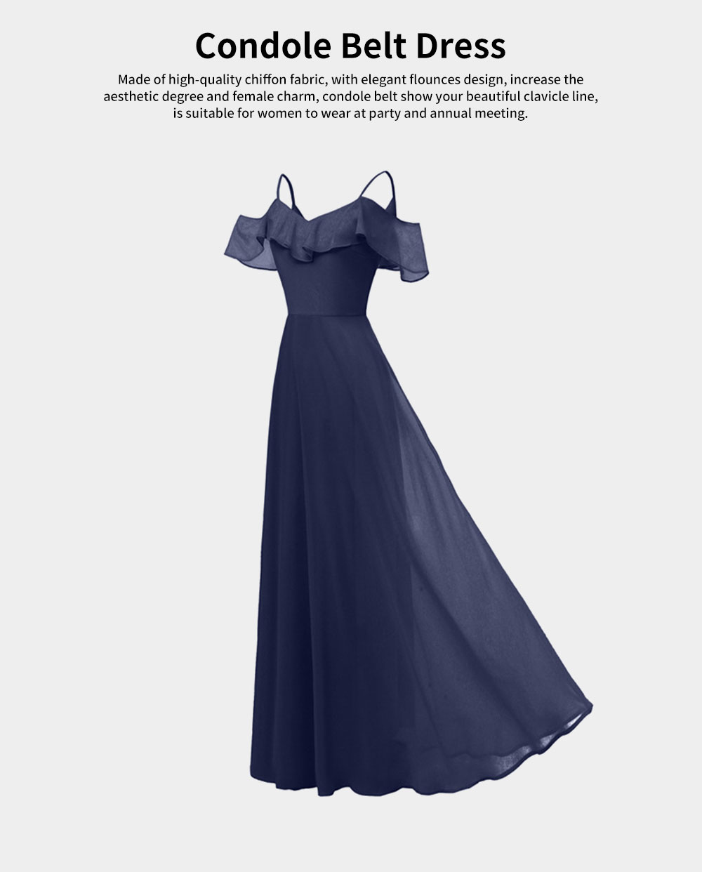 Condole Belt Dress for Women, Elegant Flounces Long Skirt, Classic Color Chiffon Sexy Annual Meeting Dresses 0