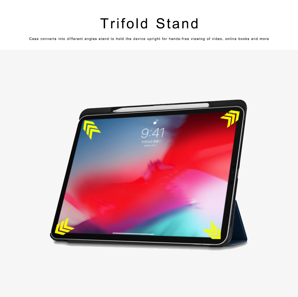 Folio Protective Case for iPad Pro 11 Multiple Angles Stand Smart Protective Cover Trifold Stand Smart Shell with Apple Pencil Slot 2