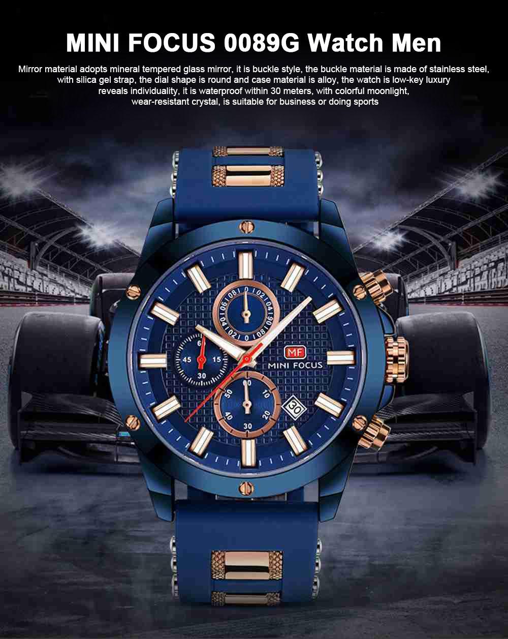 MINI FOCUS Fashion Male Quartz Watch Men Chronograph 3 Sub-dials 6 Hands Calendar Silicone Strap Waterproof 30 Meters Sport WristWatch 0