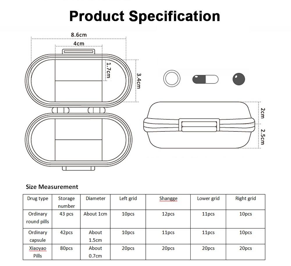 Sealed Pill Box for Medicine Oral Liquid Hardware Flexible Removable Plastic Compartment Portable 7 Days Moisture-Proof Mini Pill Case 7