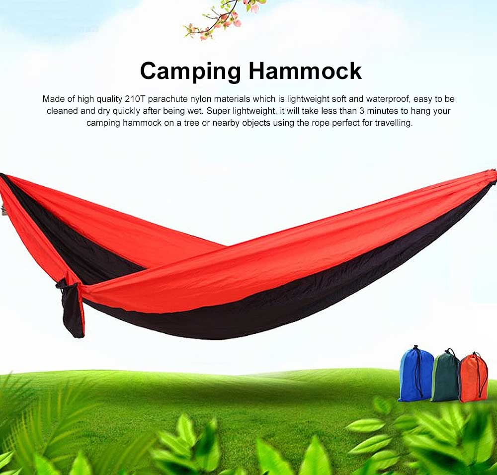 Camping Hammock Portable Indoor Outdoor Lightweight Nylon Parachute Hammocks for Travel, Beach with Nylon Straps and Carabiners 0