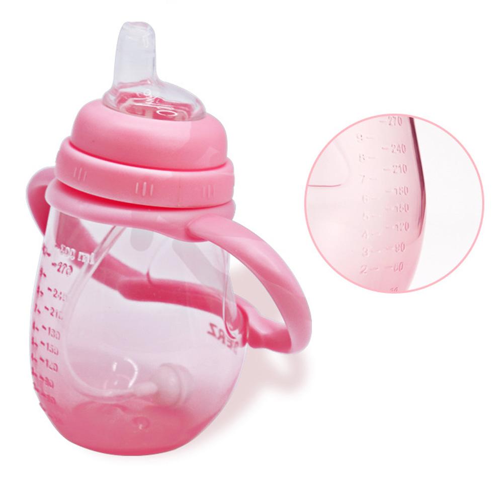 Anti-choke Baby Feeder with Handle for 6-18 months Babies, Anti-leak Food Grade Liquid Silica Gel Baby Nursing Bottle Baby Feeding-bottle 6