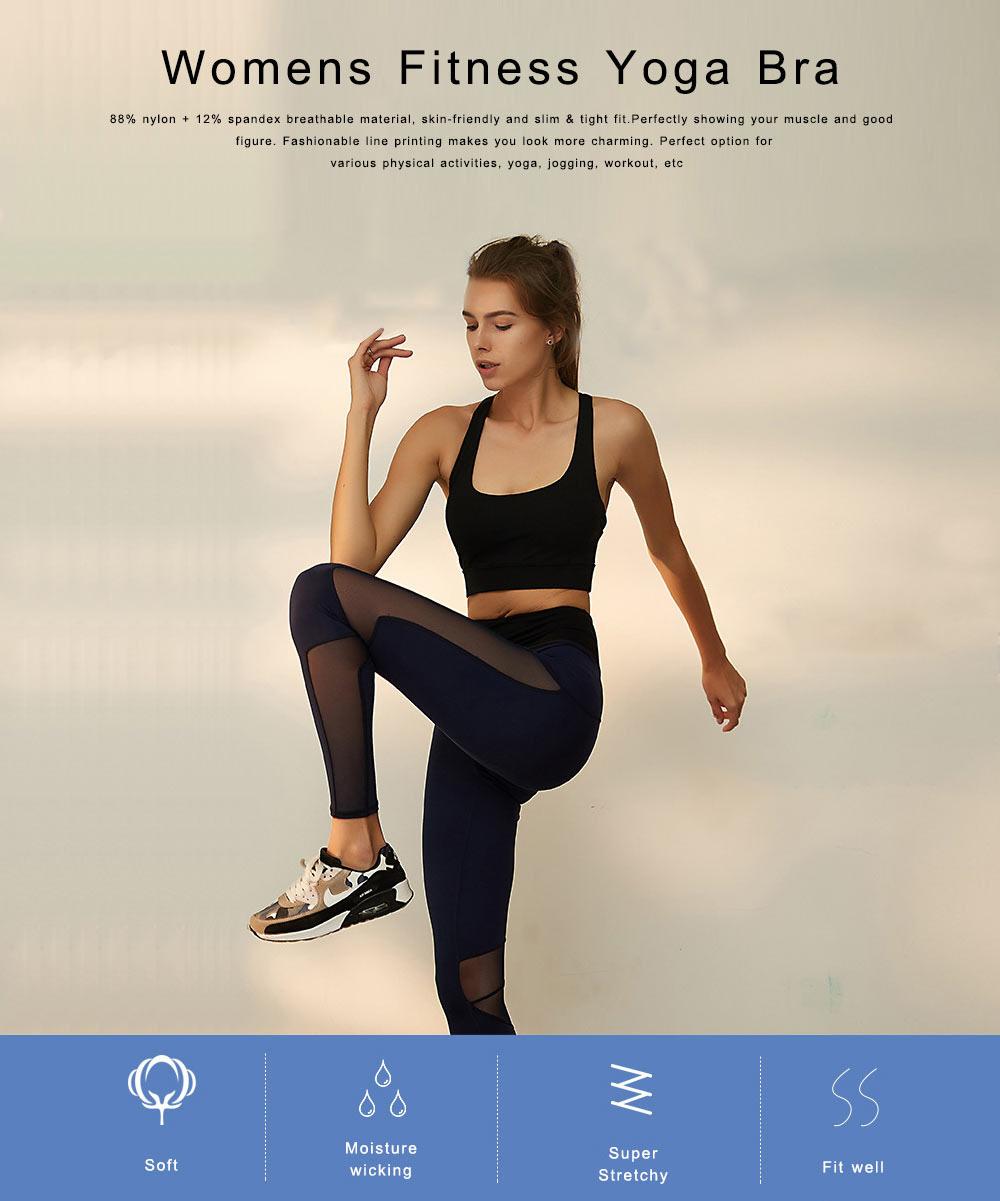 Women's Fitness Yoga Bra, Quick-drying Nylon Underwear Sexy Beauty Back Tops Vest Sports Bra 0