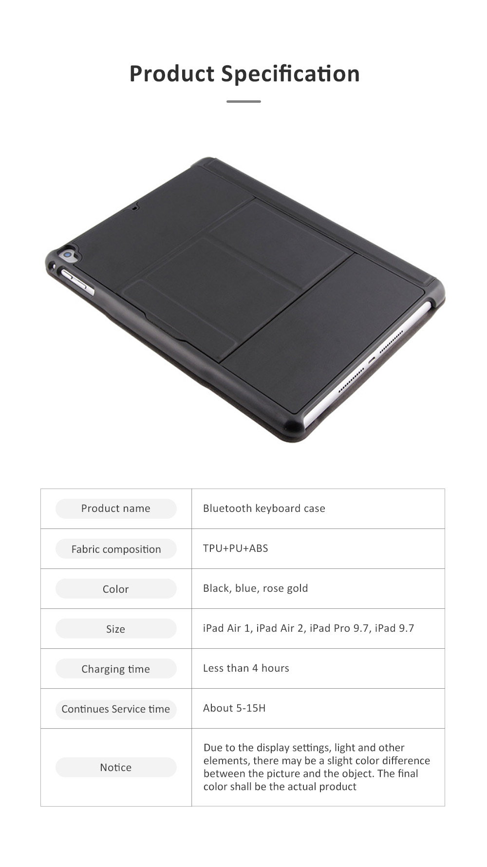 Bluetooth Keyboard Magnetic Flip Case for iPad Air 1, iPad Air 2, iPad Pro 9.7, iPad 9.7 2018, iPad 9.7 2017, Ultra- Thin Split Type New iPad 9.7 Colorful Backlit External Bluetooth Protective Cove 5