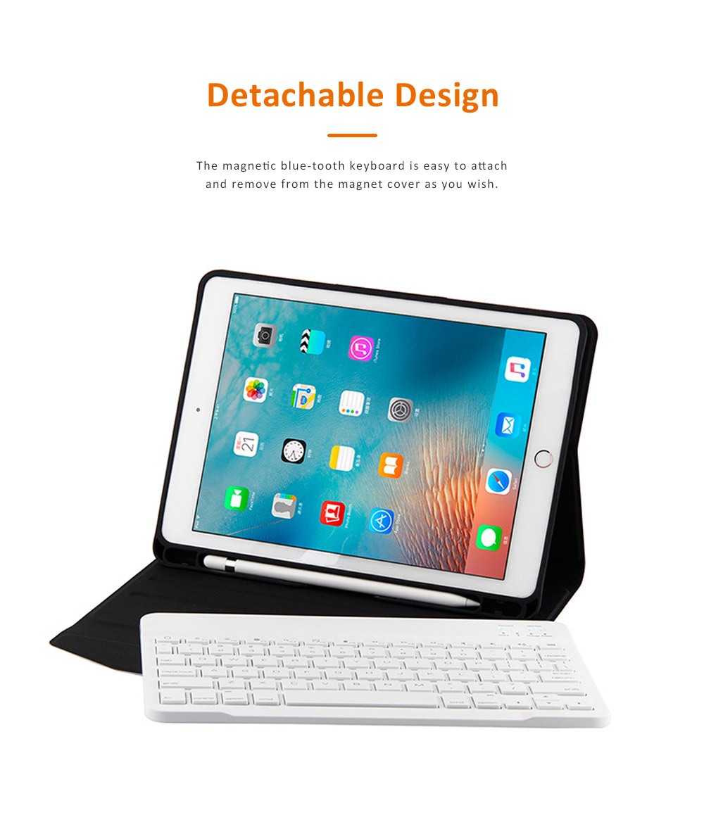 Smart Case with 3.0 Wireless Bluetooth Keyboard for iPad 9.7, Magnetic Leather Auto Sleep Awake Smart Case with Pencil Holder, Intelligent Sleep Protection Cover for Air 2 1, iPad Pro 9.7, ipad 9.7 2017 1