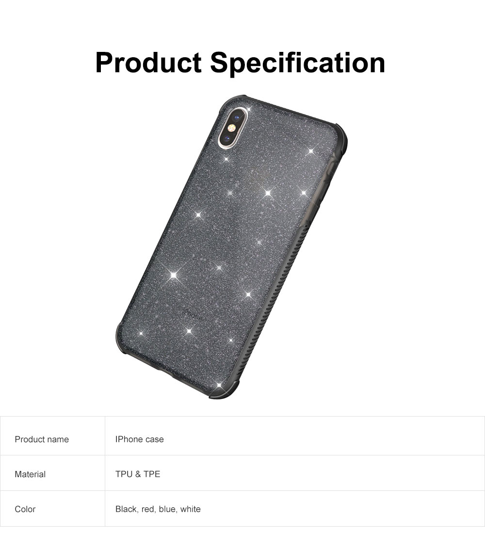 Semi-transparent Shiny Style iPhone Case TPU & TPE Shatterproof Soft Protective Case for iPhone XR, iPhone XS MAX, iPhone X or XS, iPhone 7 plus or 8 plus, iPhone 7 or 8, iPhone 6 or 6s Plus 6