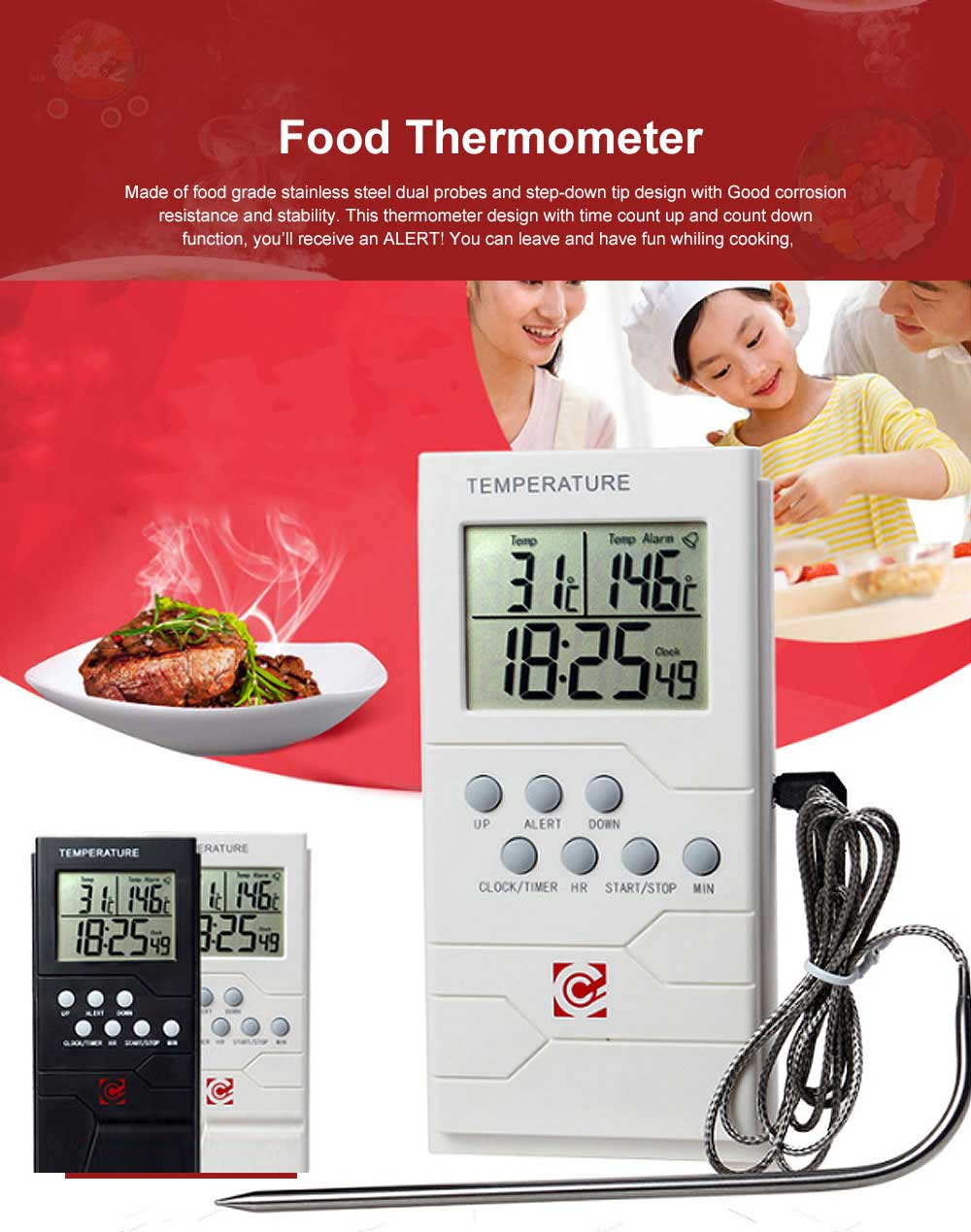 Food Thermometer Remote Cooking Food Barbecue Digital Grill Thermometer Portable Kitchen Accessories Wireless Meat Thermometer 0