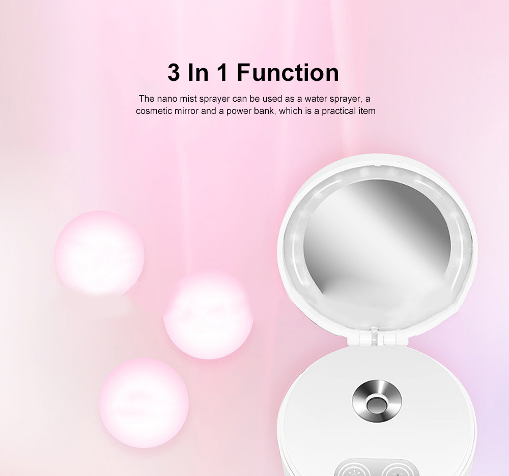 Multipurpose Mist Sprayer with Cosmetic Mirror Rechargeable Water Sprayer Used for Power Bank 1