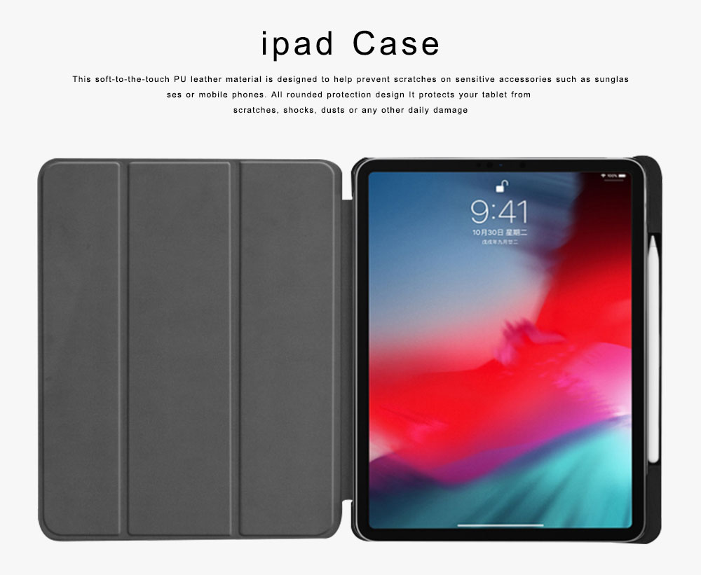 Folio Protective Case for iPad Pro 11 Multiple Angles Stand Smart Protective Cover Trifold Stand Smart Shell with Apple Pencil Slot 0