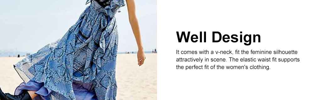 Women Ruffled Flounce Maxi Dress Deep V-neck Long Dresses Beach Dresses Bohemian Printed Side Split Dresses 4