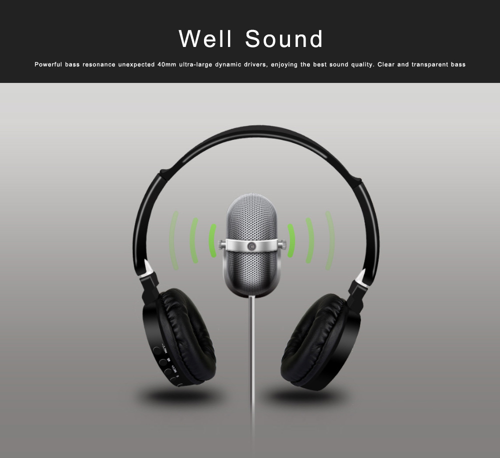 Bluetooth V4.2 Headset, Wireless Hi-Fi Stereo Noise Cancelling Over-ear Headphone with Built in Microphone 2