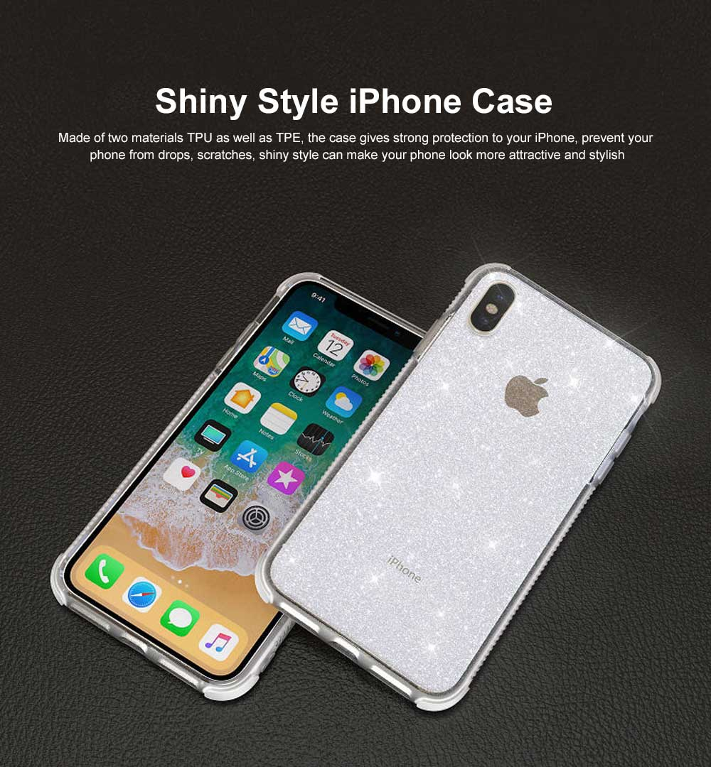 Semi-transparent Shiny Style iPhone Case TPU & TPE Shatterproof Soft Protective Case for iPhone XR, iPhone XS MAX, iPhone X or XS, iPhone 7 plus or 8 plus, iPhone 7 or 8, iPhone 6 or 6s Plus 0
