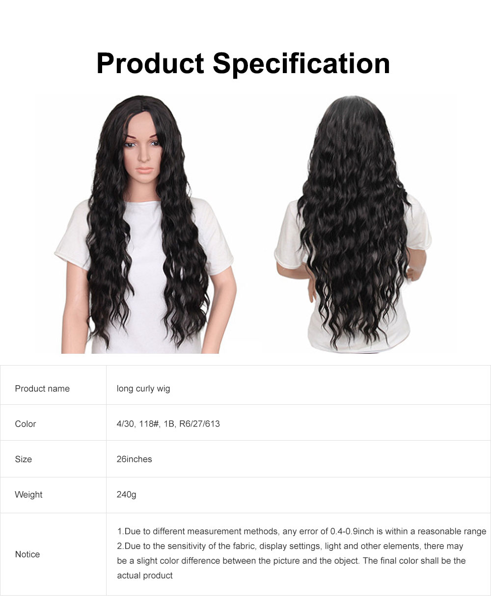 Long Curly Wig, Big Wave Black Synthetic Hair Heat Resistant Middle Parting Full Head Wig for Women 6