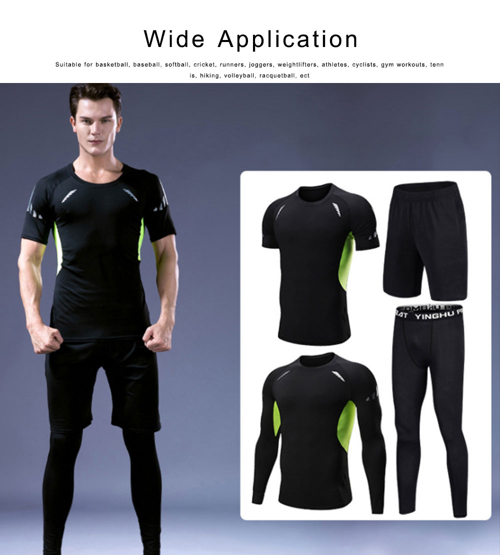 Men's Workout Sets with Compression Pants, Long & Short Sleeve Shirts and Loose Fitting Shorts 4 PCS 5