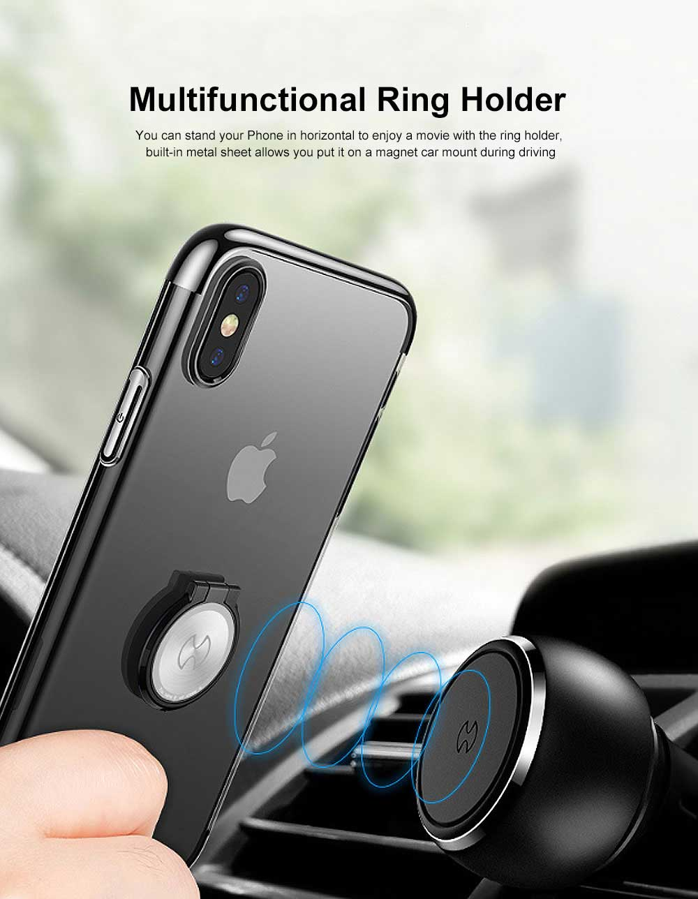 Ultra-Slim iPhone Case with Ring Holder Stand Compatible Magnetic Car Mount Cover Transparent Case Shell for Apple iPhone XS Max6.5 inch 3