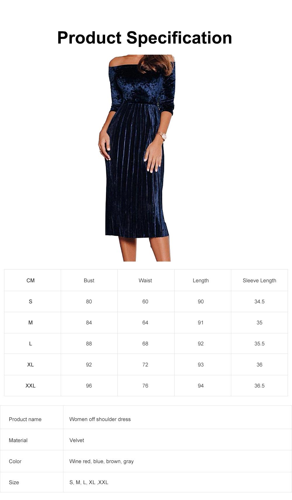 Women Off Shoulder Dress Boat Neck Three Quarter Sleeve Empire Pleated Velvet A-Line Midi Dress 6