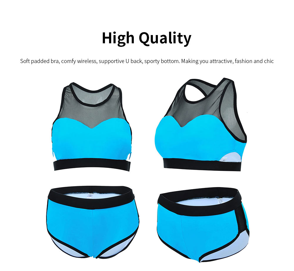 Women Sports Swimwear Swimsuit Front Mesh U-neck Casual Two Pieces Bathing Suit with High Elasticity 5