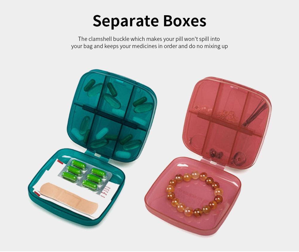 m square Travel BPA Free Plastic Pill Box Case 6 Compartments Pill Organizer Portable Tablet Holder 5