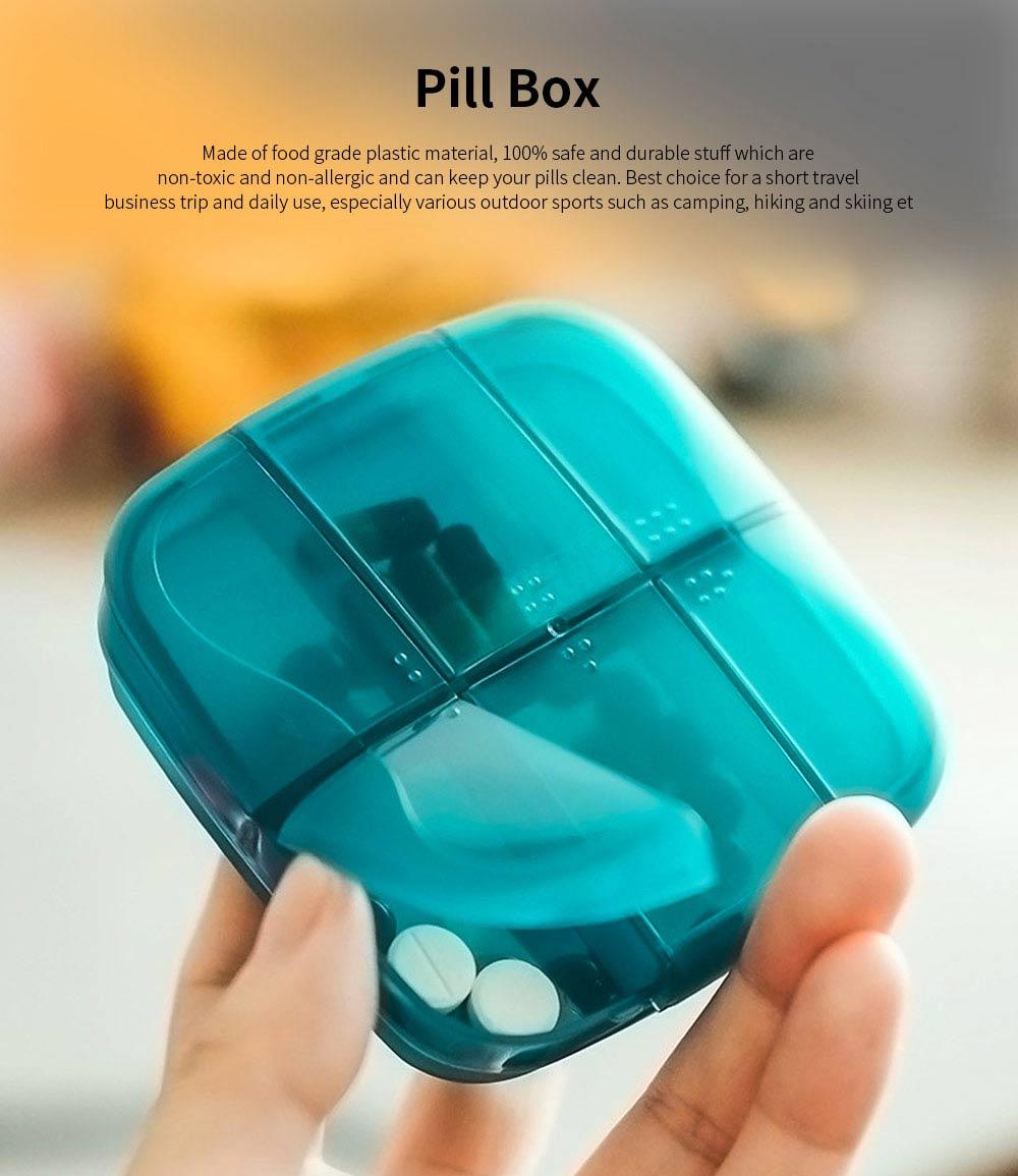 m square Travel BPA Free Plastic Pill Box Case 6 Compartments Pill Organizer Portable Tablet Holder 0