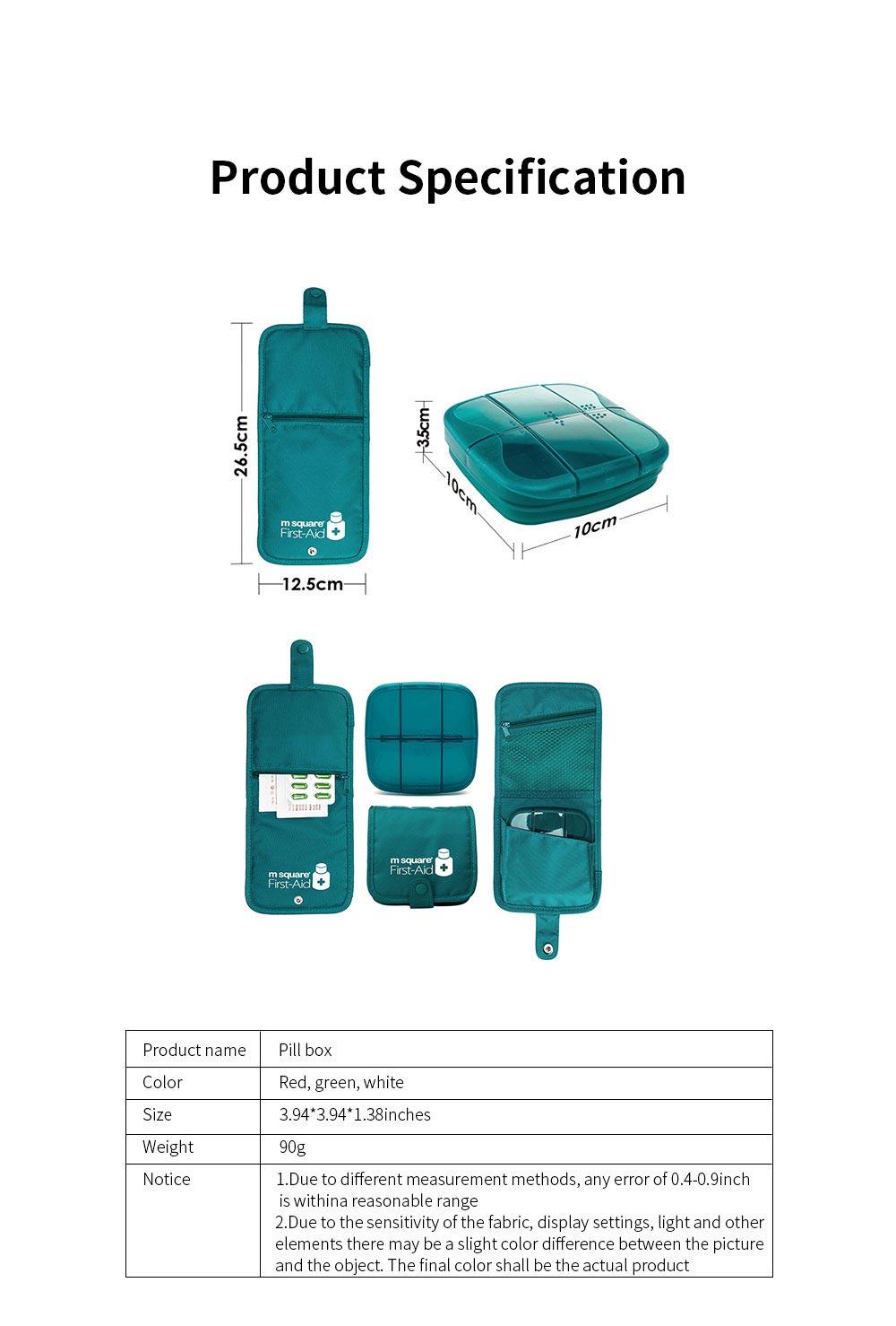 m square Travel BPA Free Plastic Pill Box Case 6 Compartments Pill Organizer Portable Tablet Holder 6