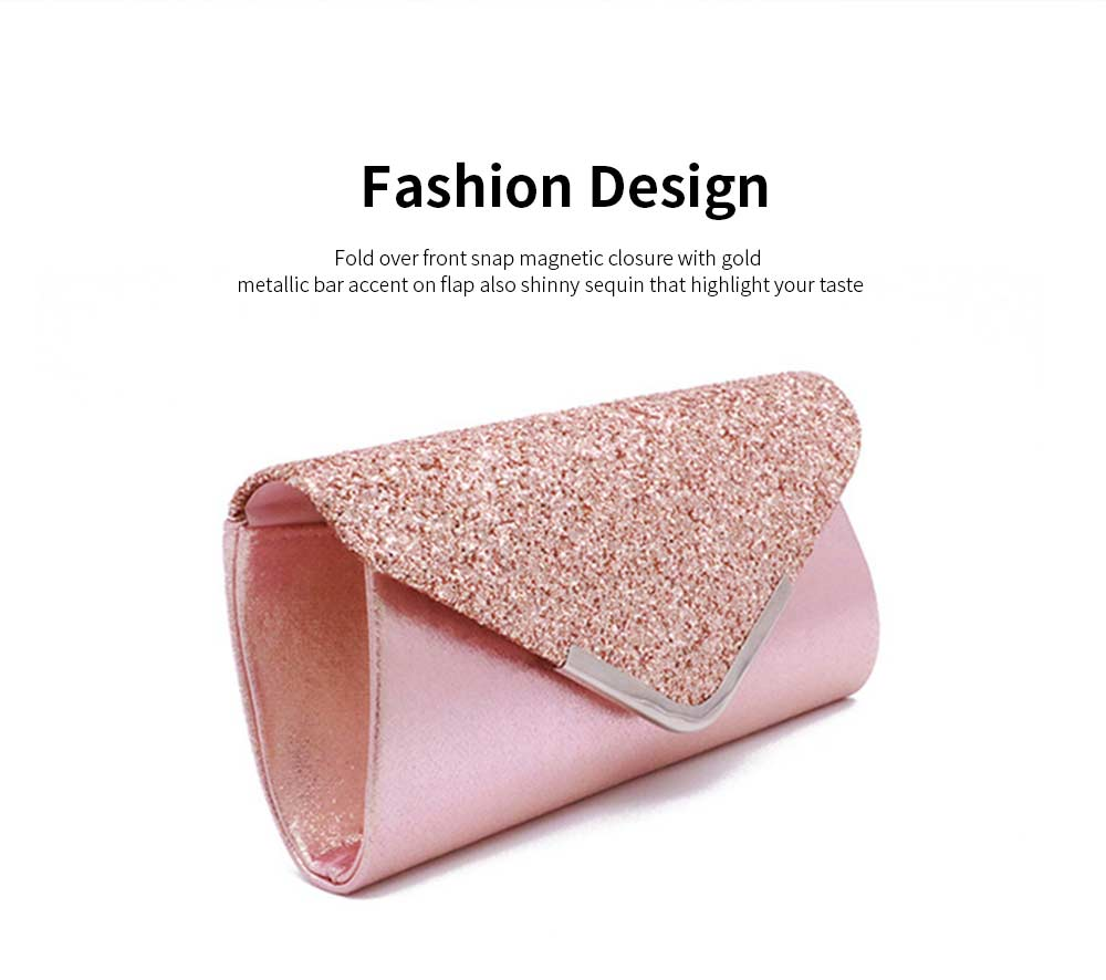 Women Evening Clutch PU Leather Sequin Handbags Hand Catching Bag Clutch Bag Make Up Bag Banquet Bag 4