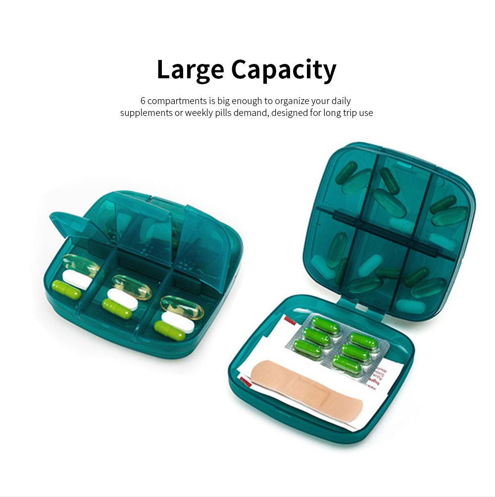 m square Travel BPA Free Plastic Pill Box Case 6 Compartments Pill Organizer Portable Tablet Holder 4