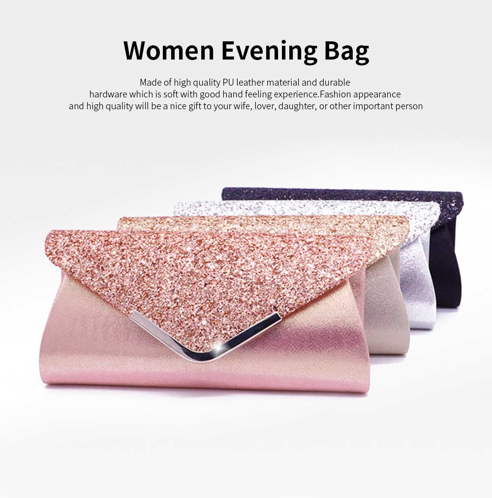 Women Evening Clutch PU Leather Sequin Handbags Hand Catching Bag Clutch Bag Make Up Bag Banquet Bag 0