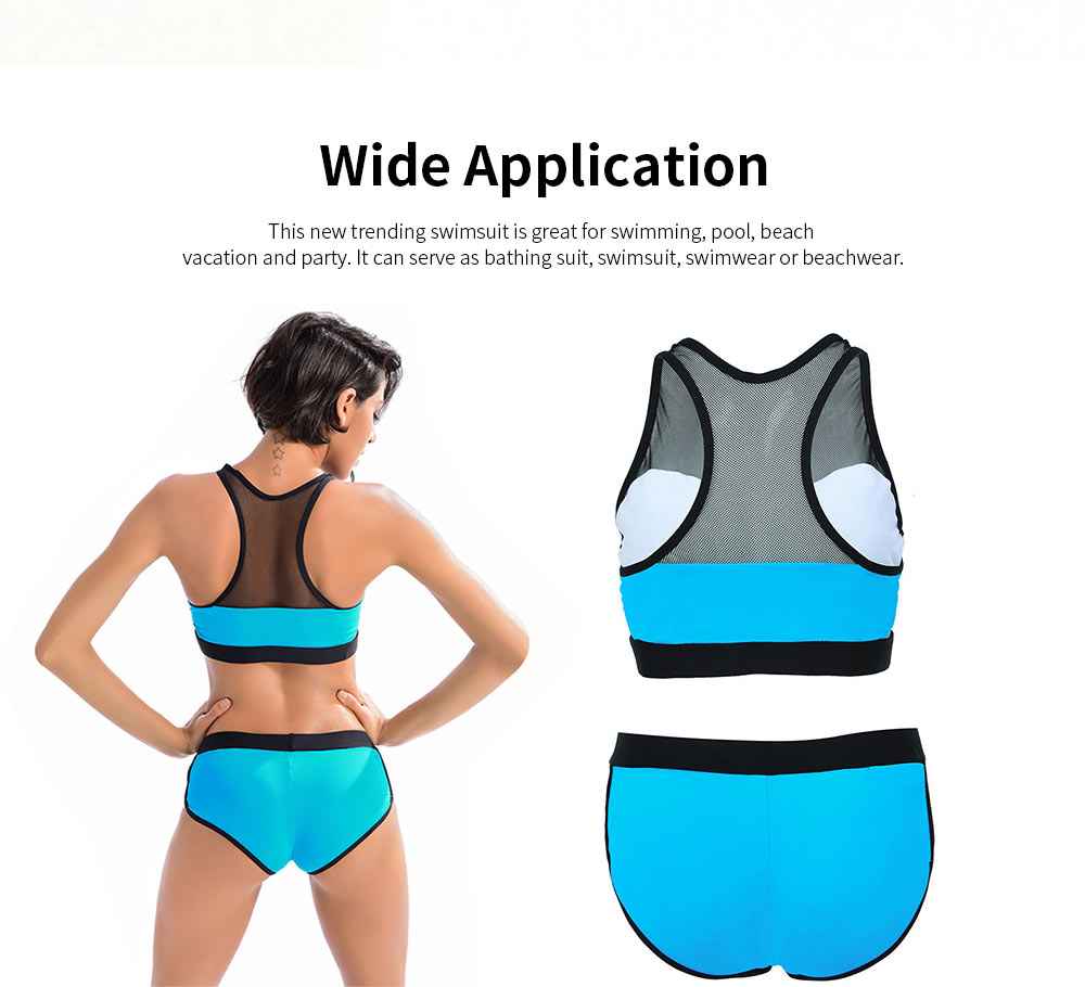 Women Sports Swimwear Swimsuit Front Mesh U-neck Casual Two Pieces Bathing Suit with High Elasticity 1
