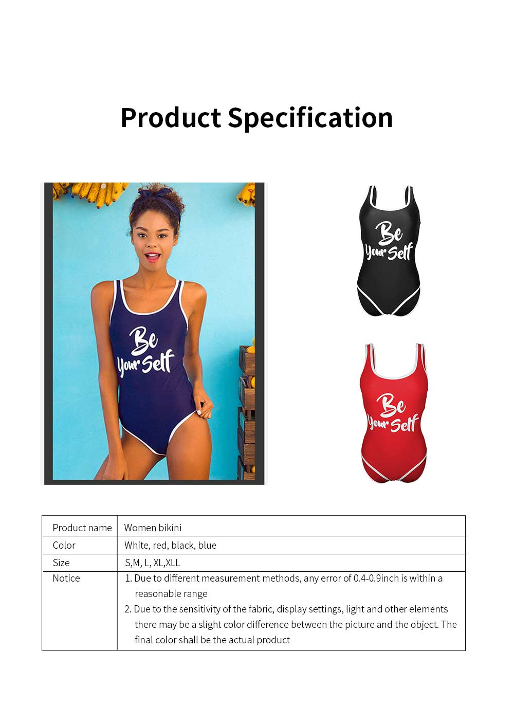 2019 Women Sports Swimsuit with Letter Print, U-Neck Casual One Piece Bathing Suit, Monokini Bikini with High Elasticity. 6