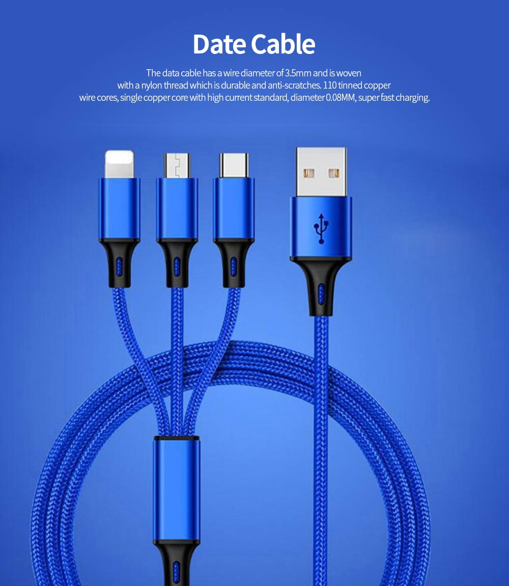 3-in-1 USB Cable 1.2M Type C Android Apple Durable Fast Charging Nylon Braided Charging Cord with Wide Compatibility 0