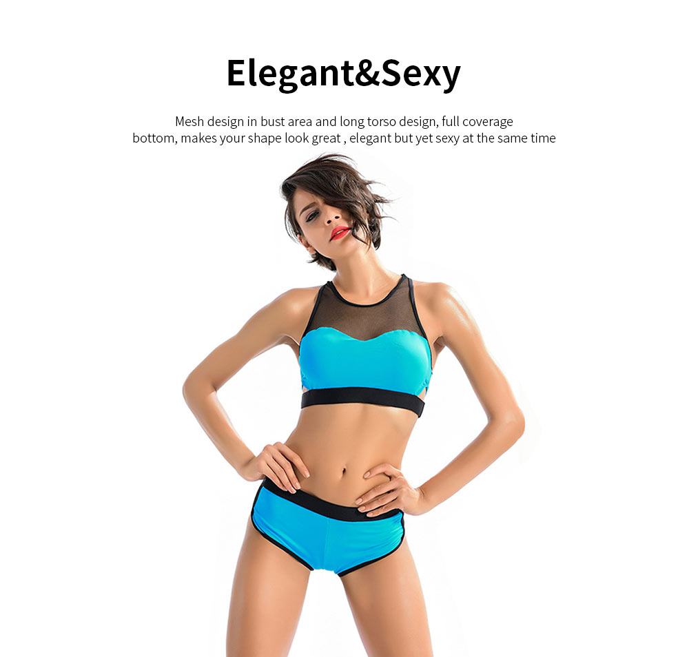 Women Sports Swimwear Swimsuit Front Mesh U-neck Casual Two Pieces Bathing Suit with High Elasticity 4