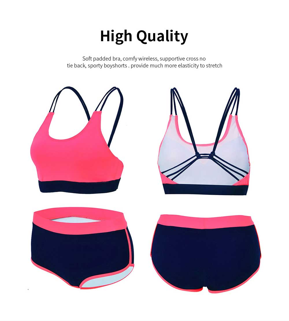 Women Sporty Swimsuit U-Neck Casual Beachwear Cross Back Bandage Two Pieces Bathing Suit with High Elasticity 5