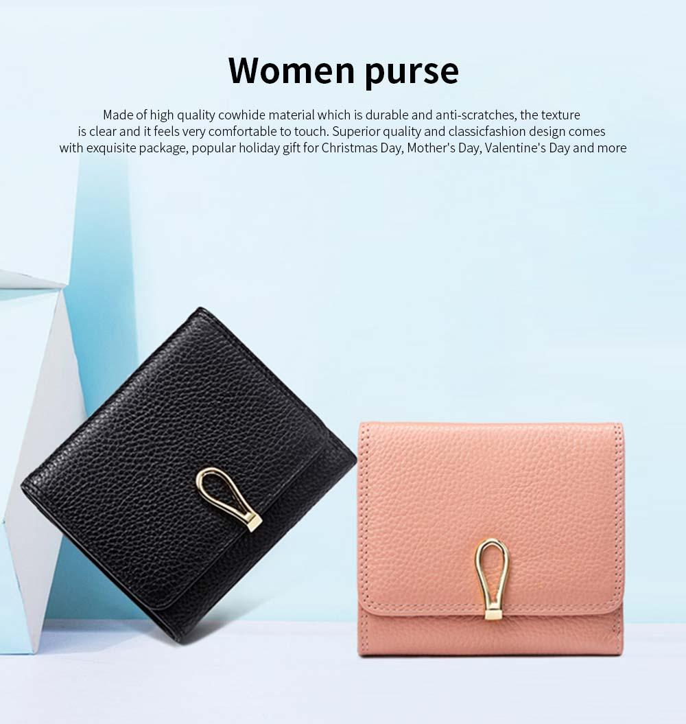 Premium Women Short Purse Multi-layer Cowhide Fashion Wallets Bifold Vintage Money Clip Gifts for Women Girl 0