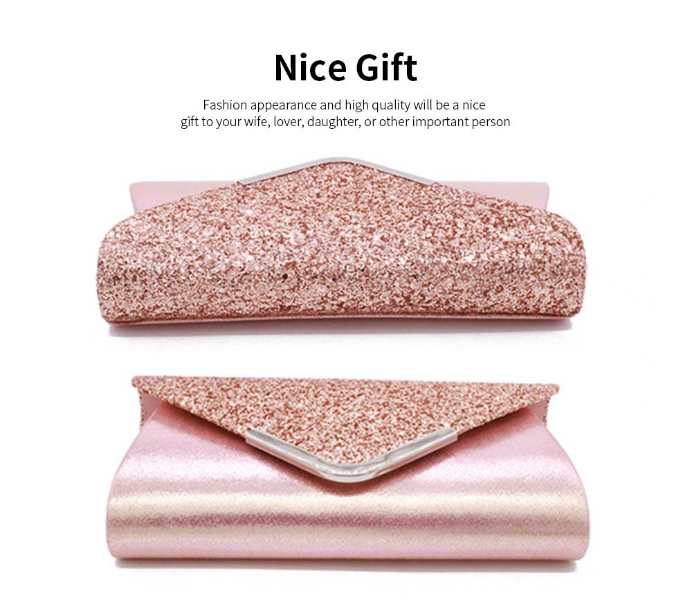 Women Evening Clutch PU Leather Sequin Handbags Hand Catching Bag Clutch Bag Make Up Bag Banquet Bag 5