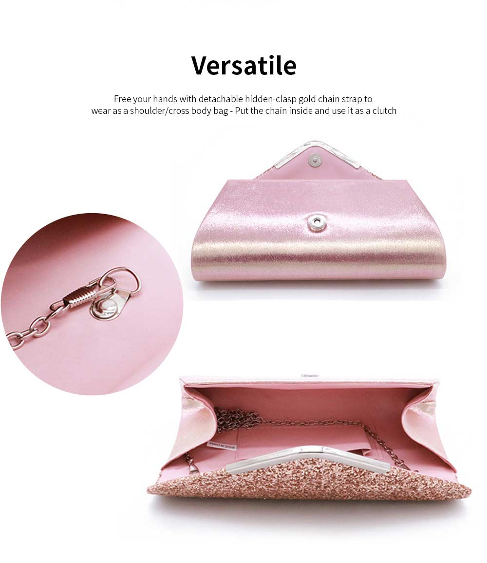 Women Evening Clutch PU Leather Sequin Handbags Hand Catching Bag Clutch Bag Make Up Bag Banquet Bag 2