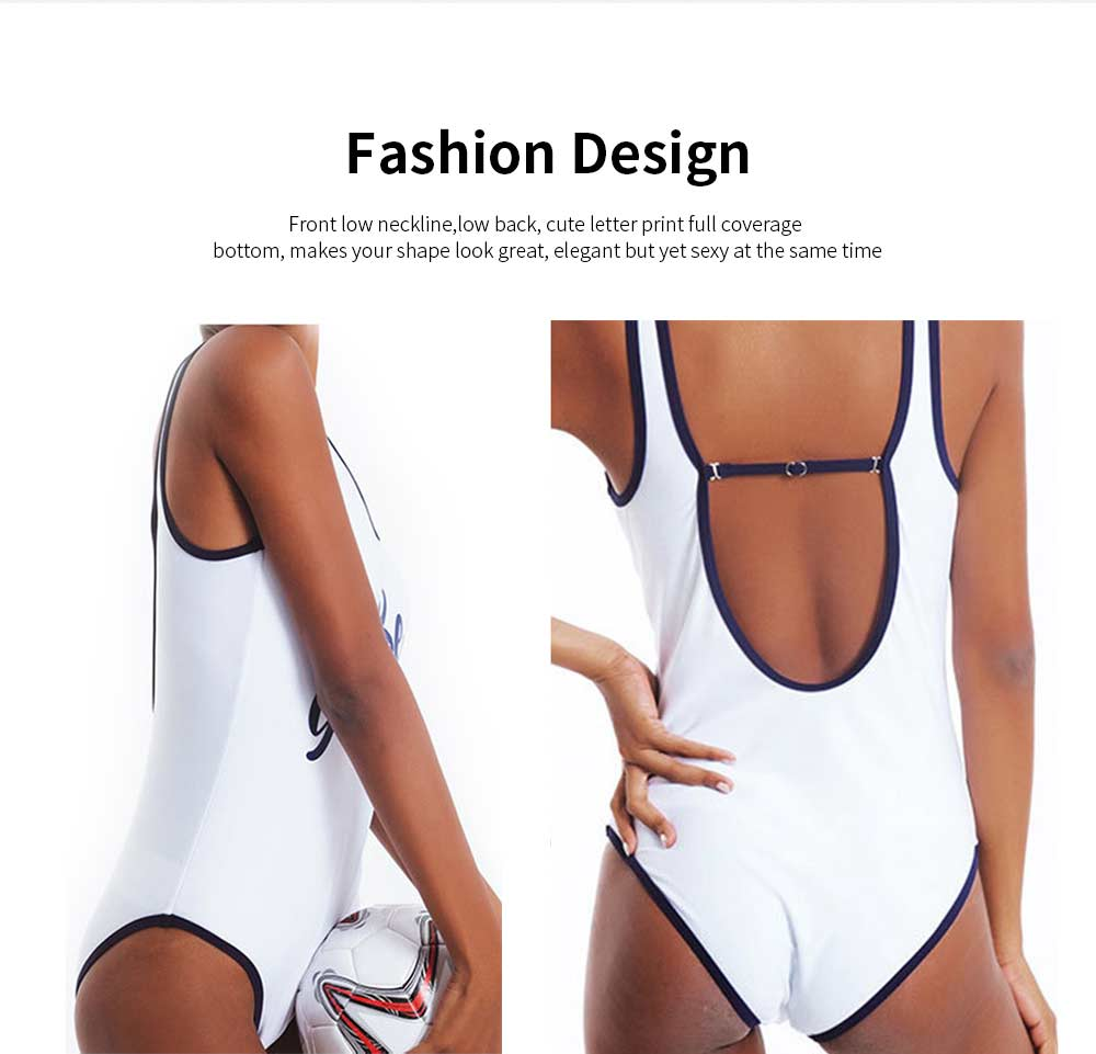2019 Women Sports Swimsuit with Letter Print, U-Neck Casual One Piece Bathing Suit, Monokini Bikini with High Elasticity. 4