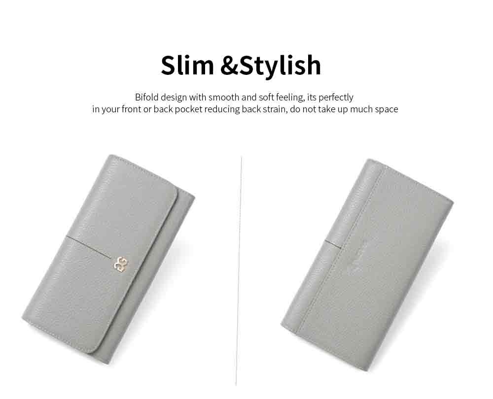 Genuine Women Long Purse Multi-layer Cowhide Slim Wallets Bifold Vintage Money Clip Pretty Gifts for Women Girl 4