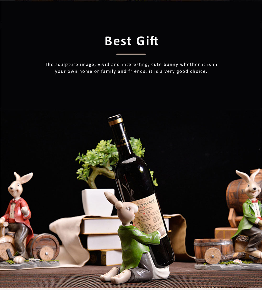Wine Rack with Creative Cartoon Rabbit, European Resin Home Crafts Restaurant Fashion Wine Cabinet Decoration for Easter 2