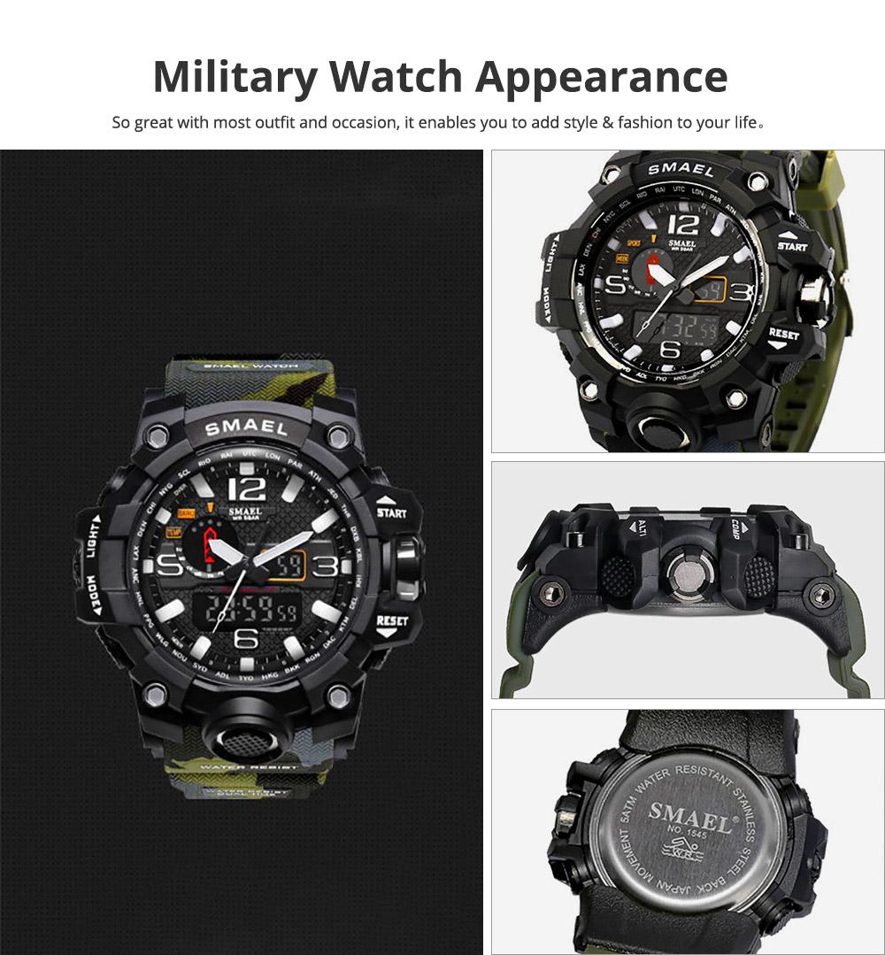 Men's Sports Analog Digital Watch, Waterproof Multifunctional Large Dial Wrist Watch for Men 1