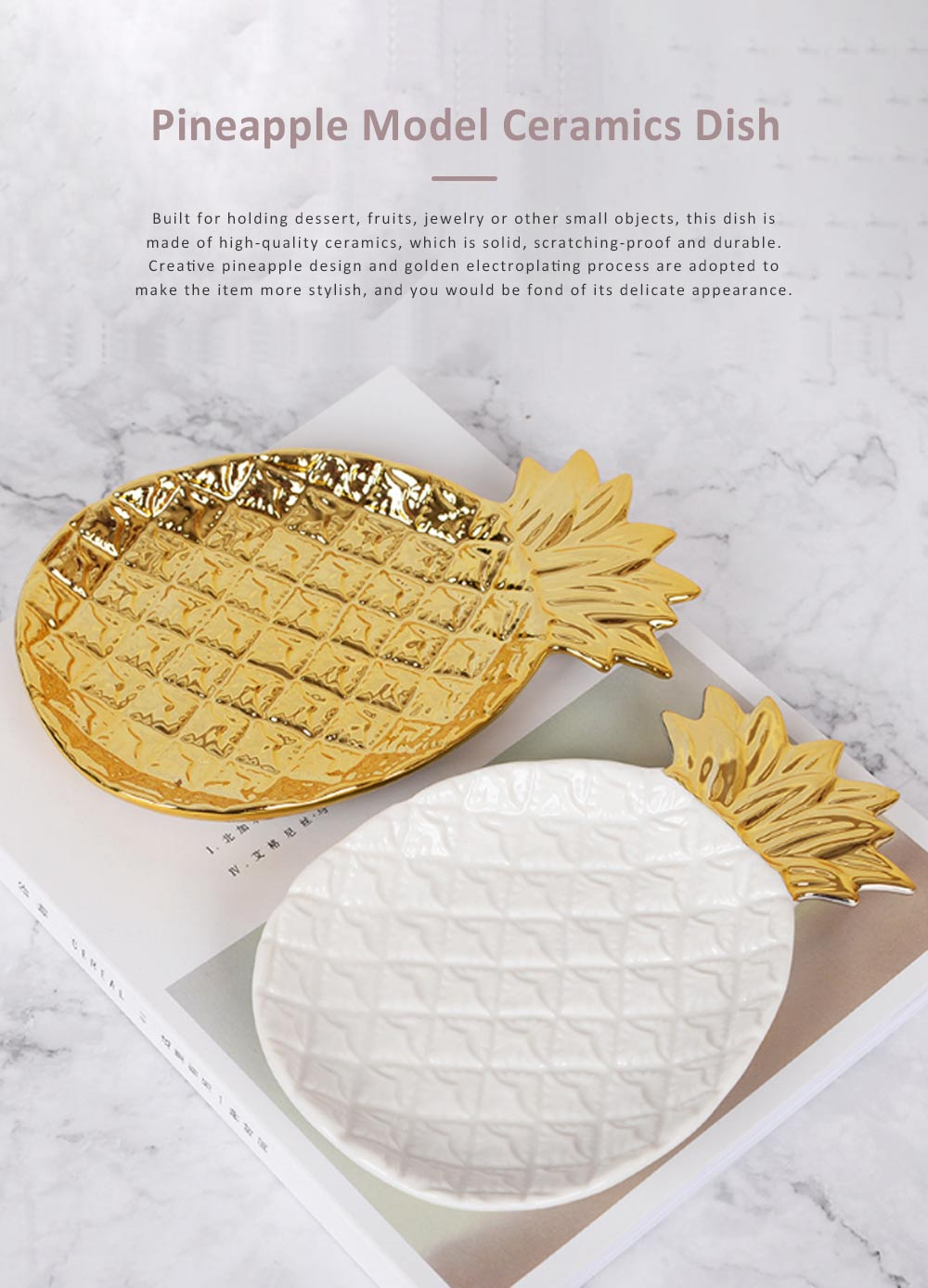 Golden Pineapple Model Ceramics Dish with Creative Shiny Electroplating ,  Exquisite Jewelry Storage Dessert Fruits Tray